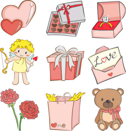 jewelry boxes: illustration of a set of Valentine
