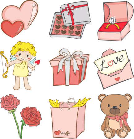 illustration of a set of Valentine