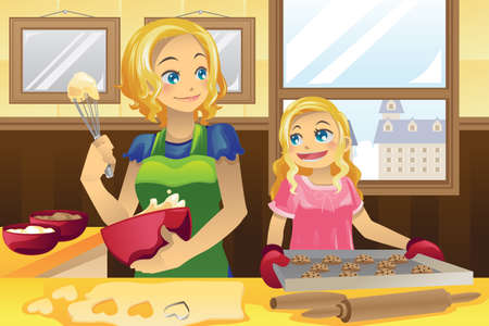 母と彼女の娘、キッチンにクッキーを焼くのイラスト