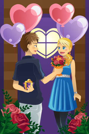 couple dating: illustration of a young couple celebrating Valentine