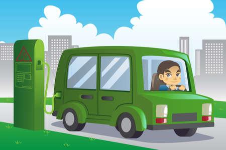 recarga: ilustraci�n de un coche de carga el�ctrica en una estaci�n de carga en la ciudad