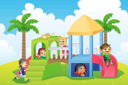 enfants qui jouent: Illustration d'un groupe d'enfants jouant dans la cour de r�cr�ation