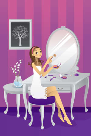 apply: illustration of a beautiful girl applying makeup in her room