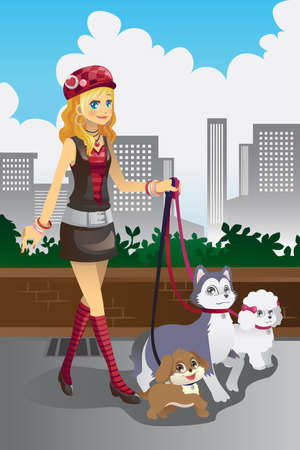 dog walking: illustration of a beautiful woman walking her dogs