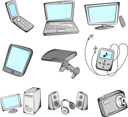 laptop: illustration of electronic items icons
