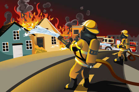 incendio casa: ilustración de los bomberos tratando de apagar casas en llamas