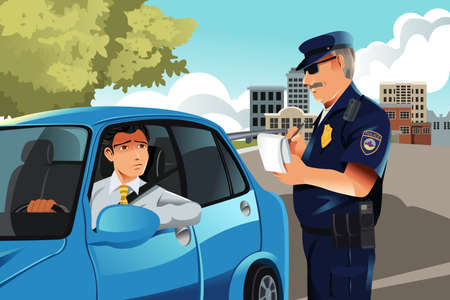 breaking the rules: illustration of a policeman giving a driver a traffic violation ticket