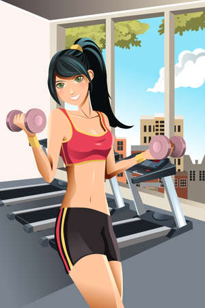 illustration of a beautiful girl exercising in a gym