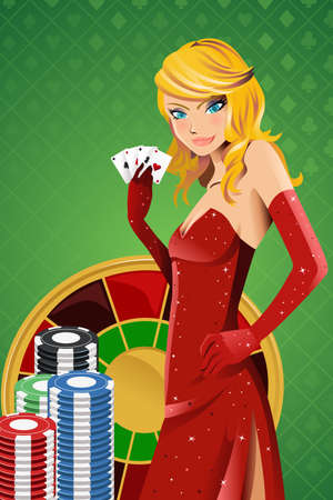 illustration of a beautiful woman holding poker cards Illustration