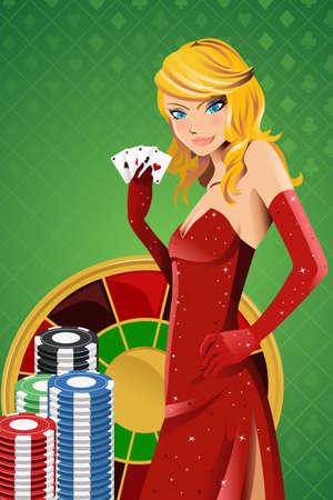 femme dessin: illustration d'une belle femme en possession de cartes de poker