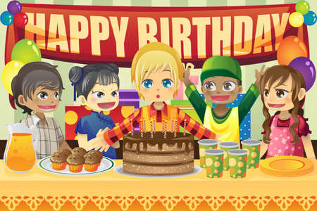 birthday party:  illustration of multi-ethnic kids in a birthday party Illustration