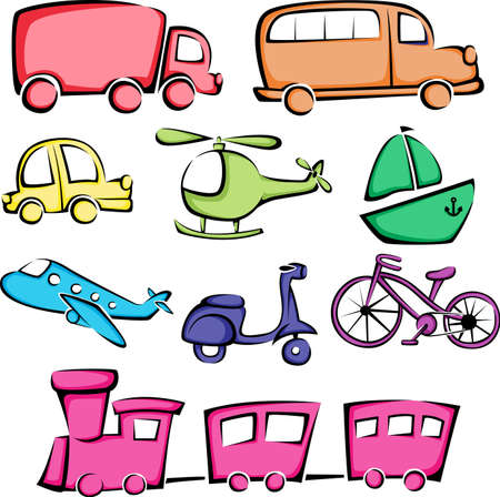 train cartoon: illustration of a different transportation vehicles icons
