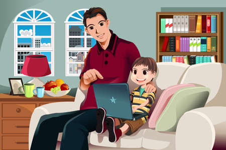 computadora caricatura: ilustración de un padre y su hijo usando una computadora en la sala de estar