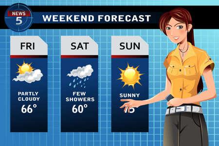 meteo: illustrazione di un reporter TV clima sul posto di lavoro Vettoriali