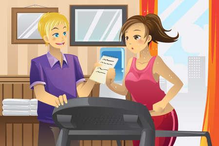 sudando: ilustración de una mujer corriendo en una cinta con su entrenador personal