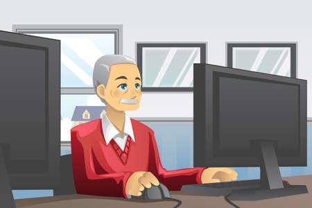 컴퓨터를 사용하는 수석 남자의 그림