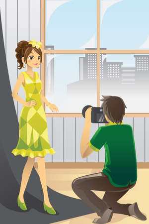 illustration of a photographer taking pictures of a model in a studio Ilustracja
