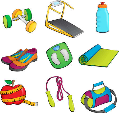 illustration of exercise equipment icons Vector