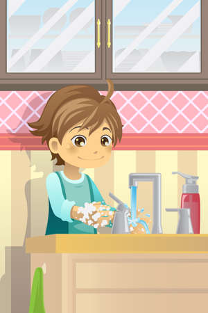 disinfect: illustration of a boy washing his hands Illustration