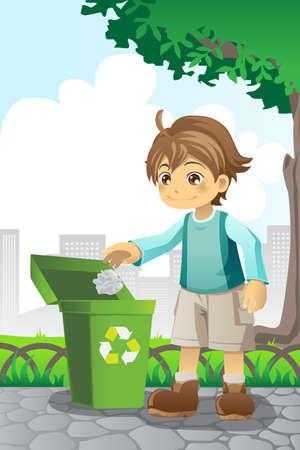 afvalbak: illustratie van een jongen recycling een stuk papier