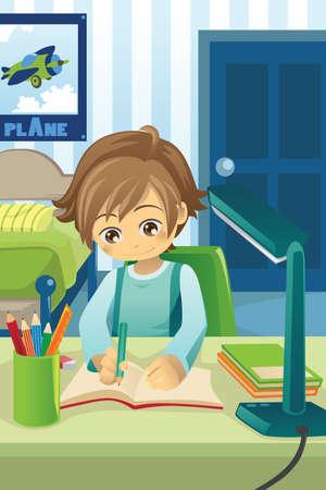 illustrazione di un ragazzino studiando e facendo i compiti nella sua camera da letto