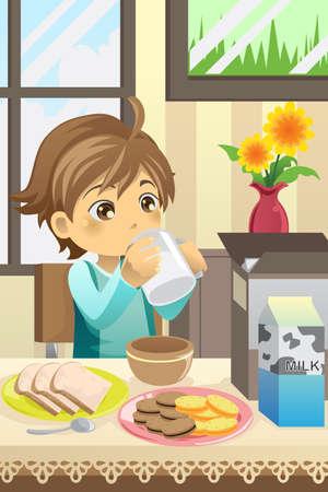 kid eat: illustrazione di un ragazzo di mangiare la sua colazione a casa
