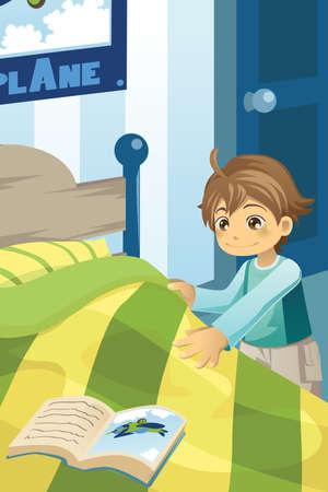 łóżko: ilustracja chłopca co swoje łóżko