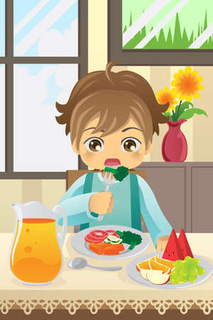 illustration of a boy eating vegetables and fruits Иллюстрация