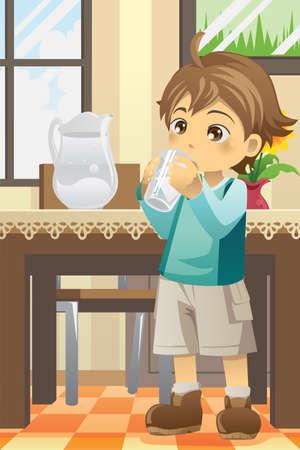 sediento: Ilustración de un niño de agua potable Vectores