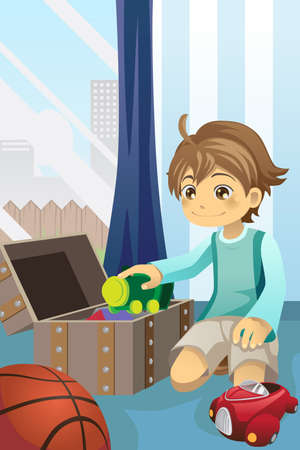 illustration of a boy cleaning up his toys and putting them inside the toy chest Çizim