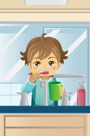 bathroom faucet:  illustration of a boy brushing his teeth Illustration