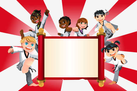 A vector illustration of a banner with kids practicing karate