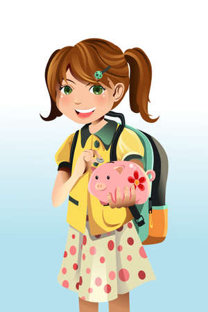 A vector illustration of a student saving money into a piggy bank Vector
