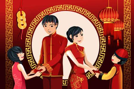 彼らの子供を与えるアジアの親のベクトル図赤 envelopes(hongbao) 中国の新年を祝う