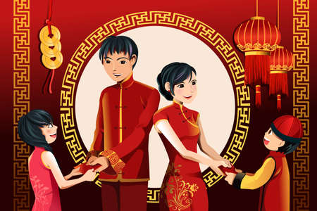 A vector illustration of Asian parents giving their children red envelopes(hongbao) celebrating Chinese New Year Vector