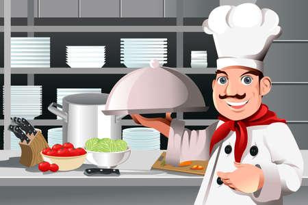 kitchen cartoon: Una ilustraci�n vectorial de un chef del restaurante con un plato de comida