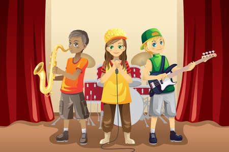 tocando musica: Una ilustraci�n vectorial de los ni�os peque�os tocando m�sica en una banda de m�sica