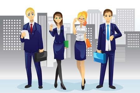 Una ilustración vectorial de la gente de negocios de pie delante de los edificios de oficinas
