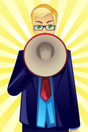 A vector illustration of a businessman speaking through a megaphone