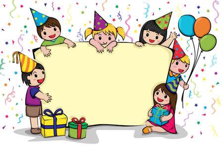 dessin enfants: Une illustration de vecteur d'une carte d'invitation de f�te d'anniversaire Illustration