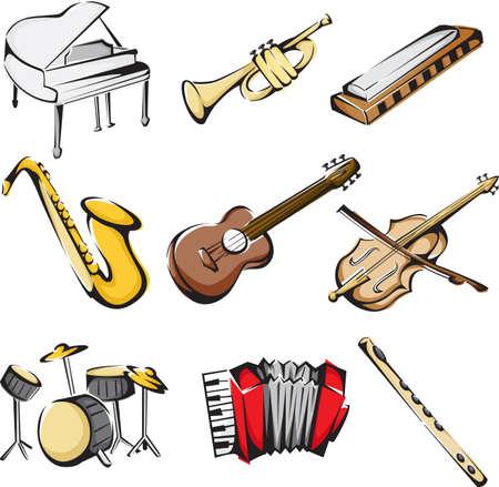 instrumentos musicales: Una ilustraci�n vectorial de diferentes iconos de instrumentos musicales