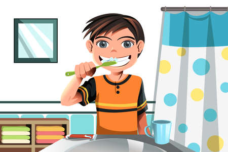 A vector illustration of a boy brushing his teeth Vettoriali