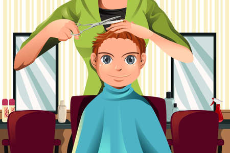 парикмахер: Векторные иллюстрации мальчик получать стрижка Иллюстрация