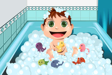 A vector illustration of a baby taking a bubble bath in the bathroom