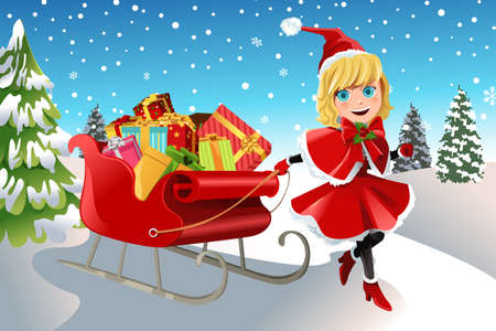 A vector illustration of a Christmas girl pulling a sleigh full of Christmas presents Vectores