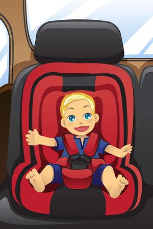 Een vector illustratie van een jongen meisje zittend op een autostoel het dragen van de veiligheidsgordel Stockfoto - 11271533