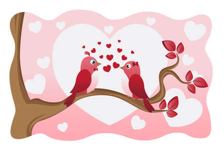A vector illustration of two birds in love