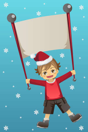 A vector illustration of a Christmas kid holding a banner Vector