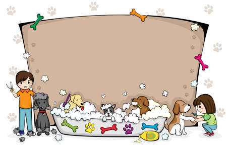 Une illustration de vecteur d'un toilettage animaux bannière de salon