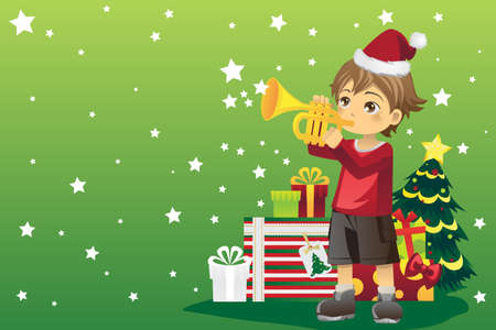 A vector illustration of a boy blowing a trumpet celebrating Christmas